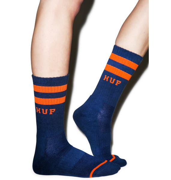 HUF 2 Stripe Crew Socks