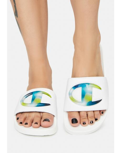 White IPO Jellie Slide Sandals