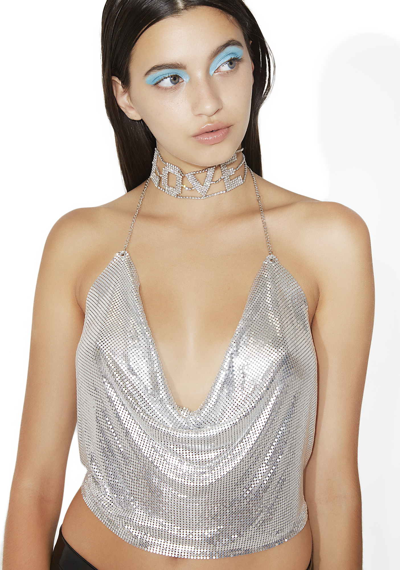 Silver Open Back Chainmail Halter Top