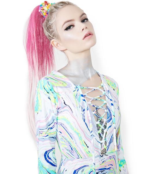 Acid Swirls Lace-Up Bodysuit