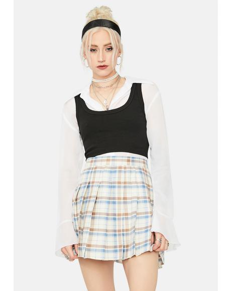 Latte Step Into A Dream Plaid Skirt