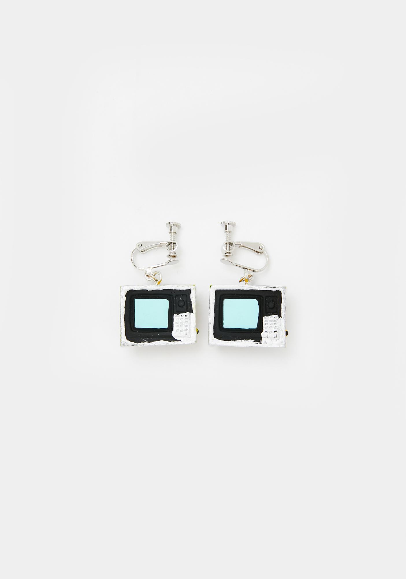 Channel Blocked TV Earrings