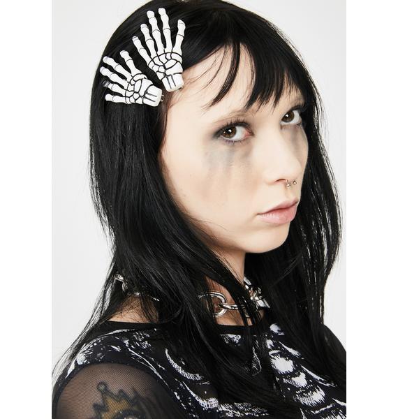 Kreepsville 666 Skeleton Bone Hand Hair Slides
