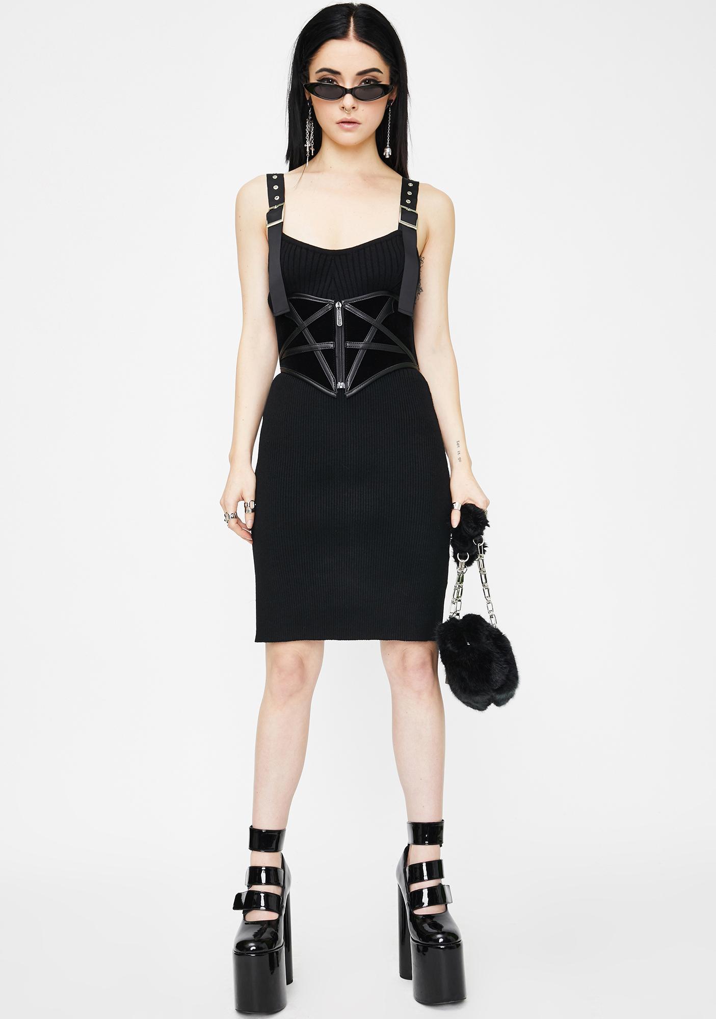 Punk Rave Wool Sling Mini Dress