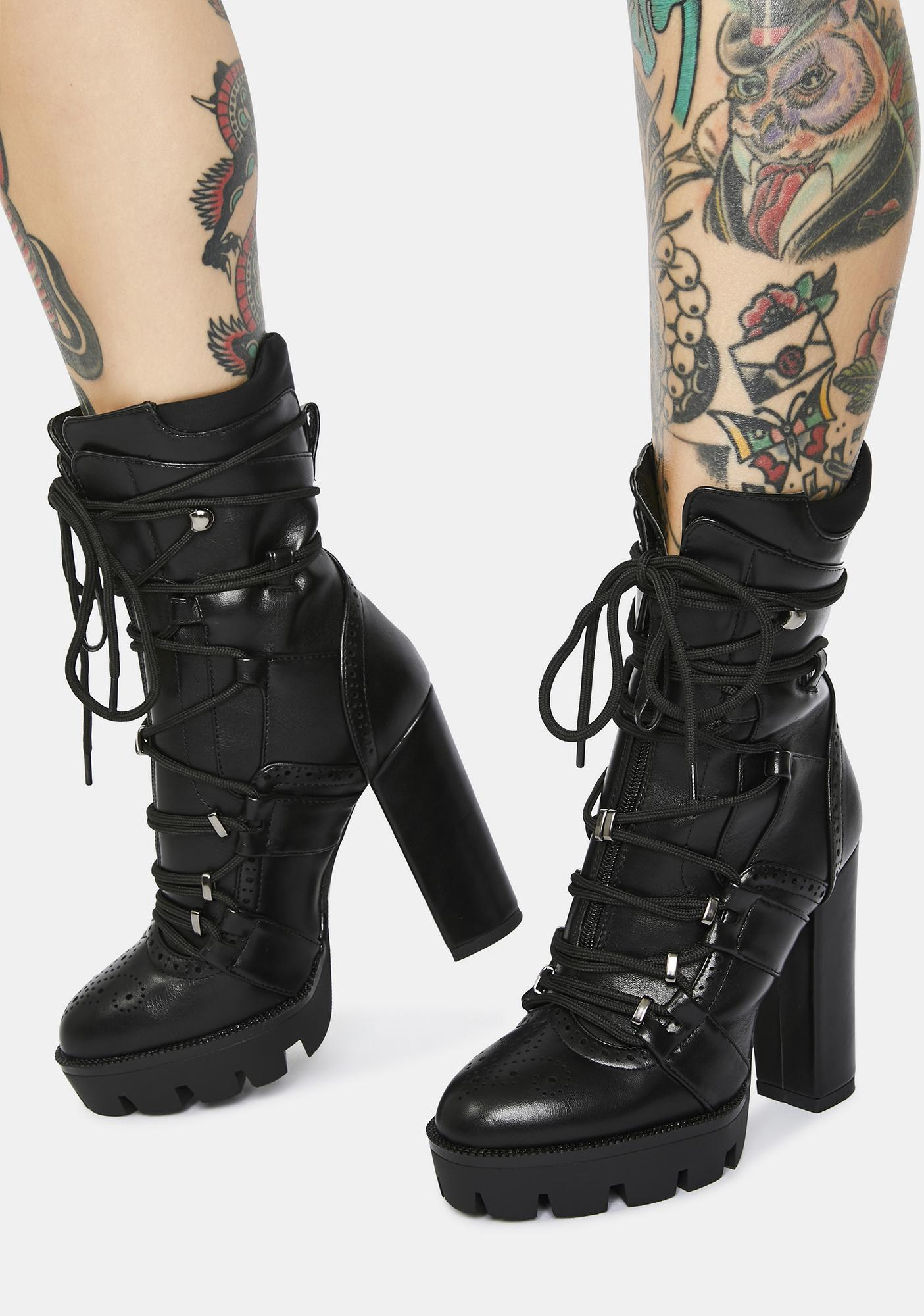 AZALEA WANG Johnson Black Patent Platform Ankle Boots