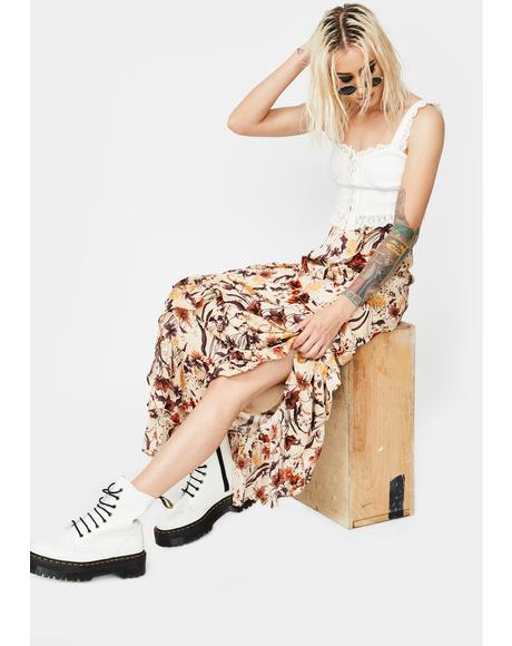 Floral Print Layered Ruffle Maxi Skirt