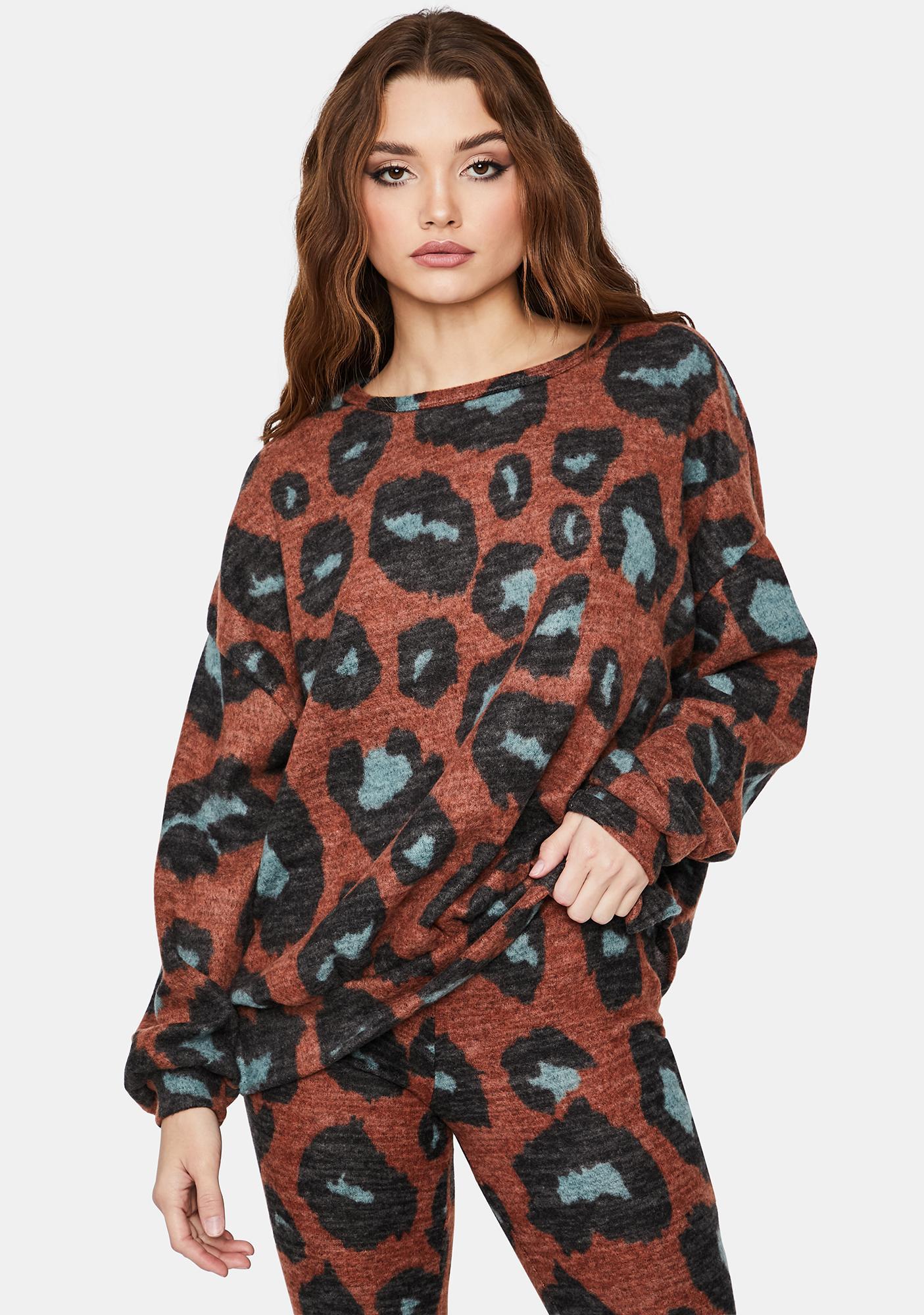 On The Catwalk Leopard Crewneck Sweater