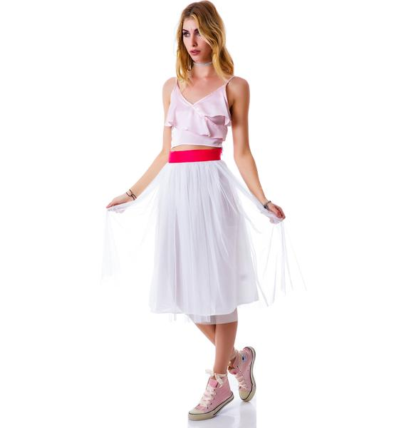 Cierra Air Tulle Midi Skirt