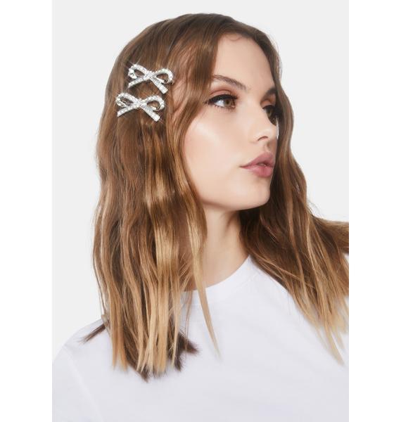 Glitzy Rhinestone Hair Bow Set
