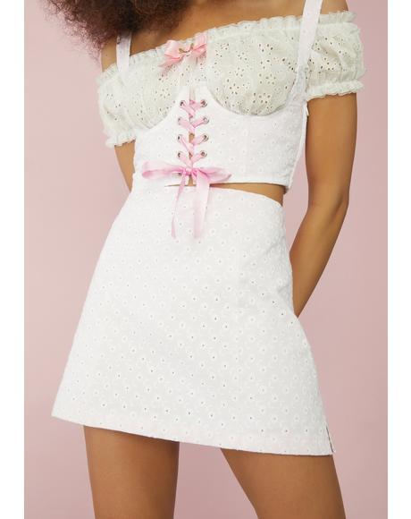 I'll Be Ur Juliet Eyelet Mini Skirt