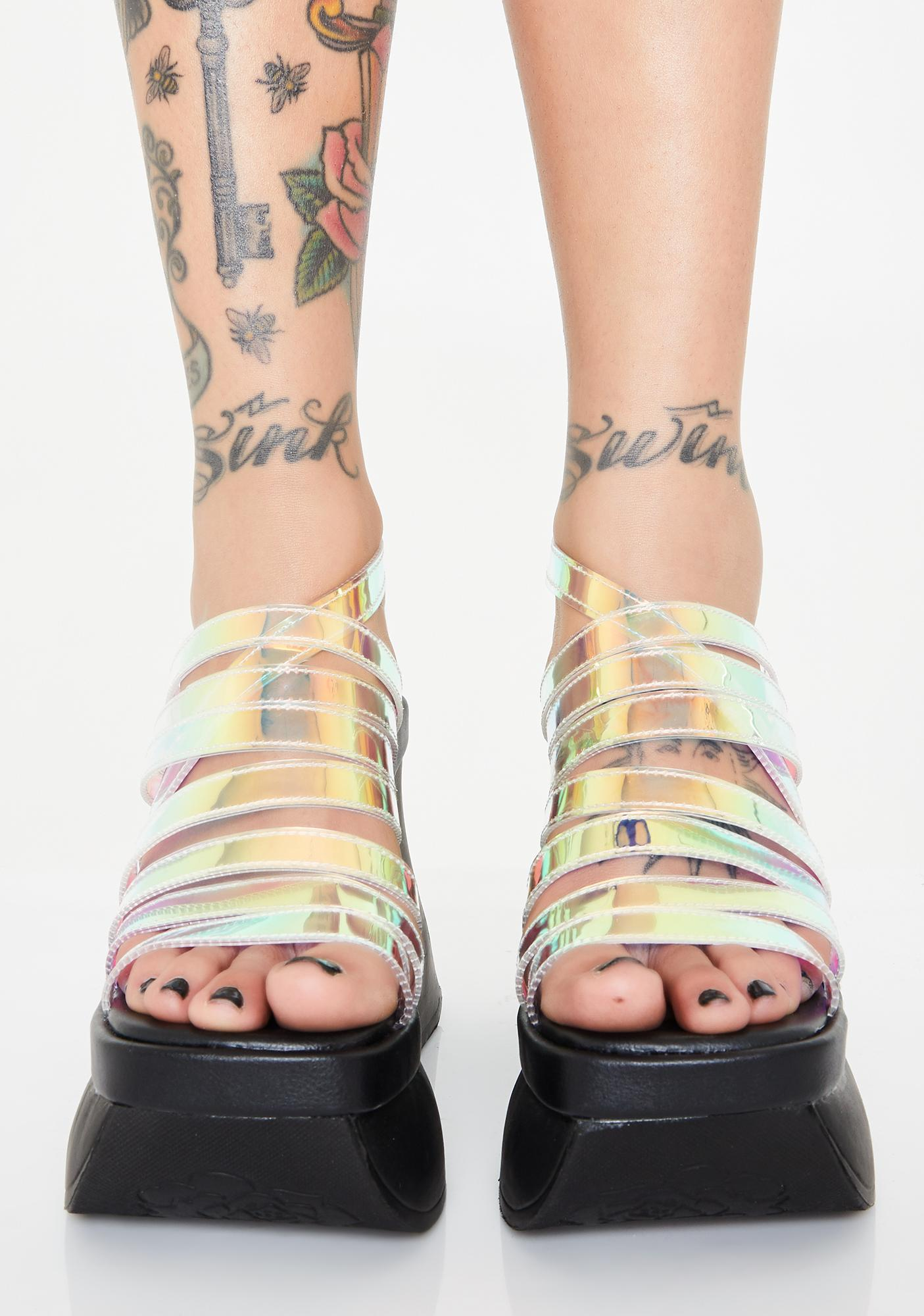 Demonia Holographic Fast Pace Platform Wedges