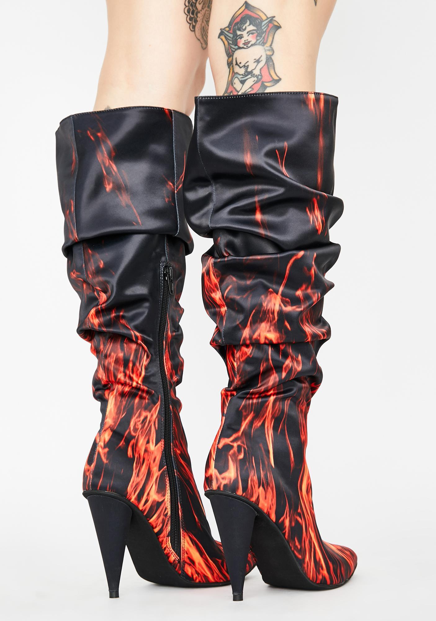 HOROSCOPEZ Blazing Glory Knee High Boots