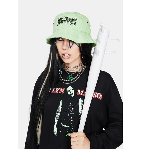Learn To Forget  Safety Green Death Metal Bucket Hat