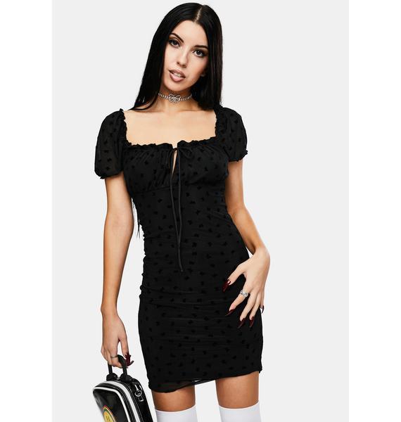 Motel Black Flock Flutterby Jamila Dress