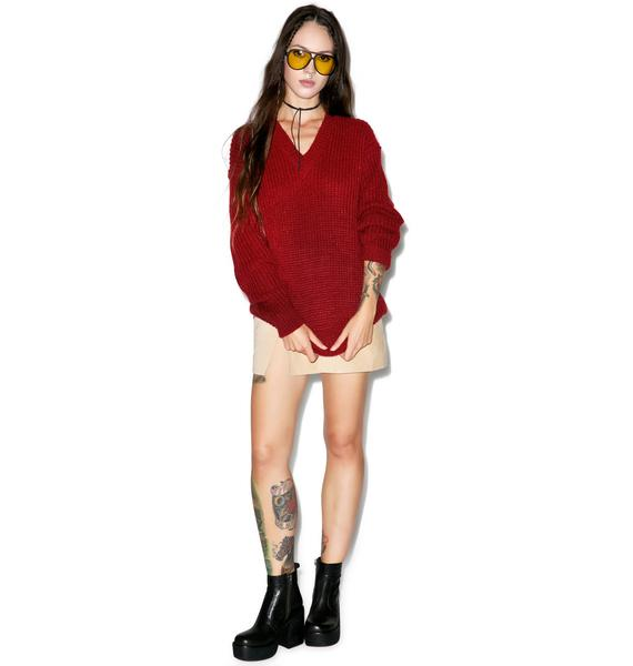 Glamorous Red Handed V-Neck Sweater