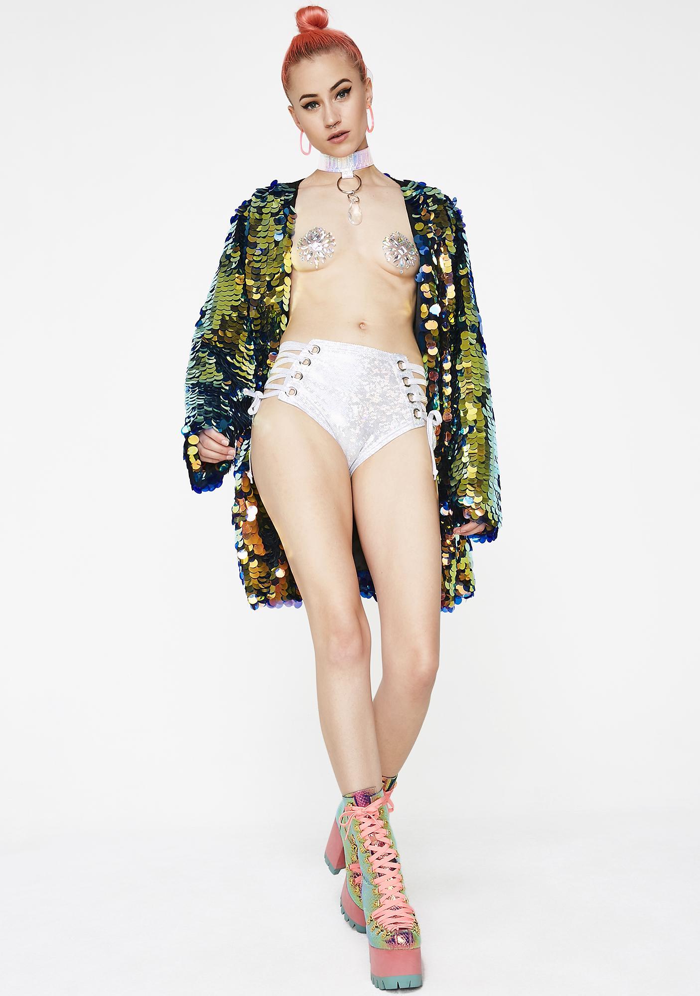 Rolita Rave Couture Hologram Lace Me Up Shorts