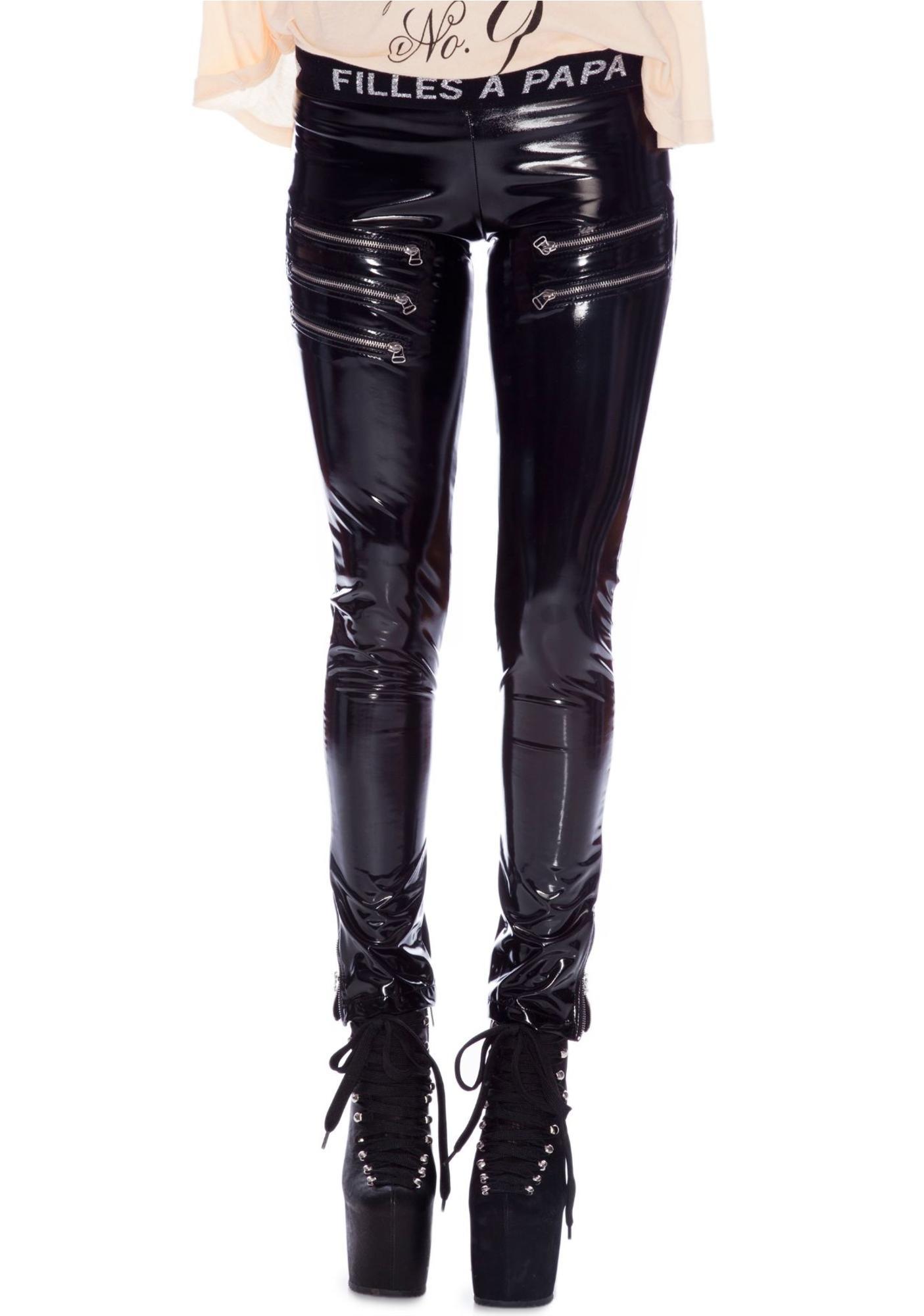 Cybil Metal Zipper Vinyl Leggings
