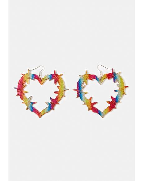Love Hurts Barbed Wire Heart Earrings