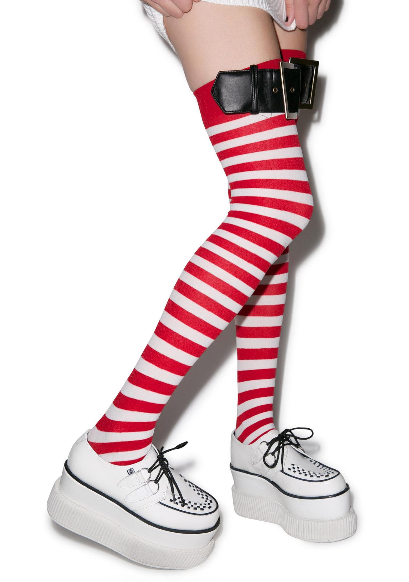 Santa Striped Thigh Highs