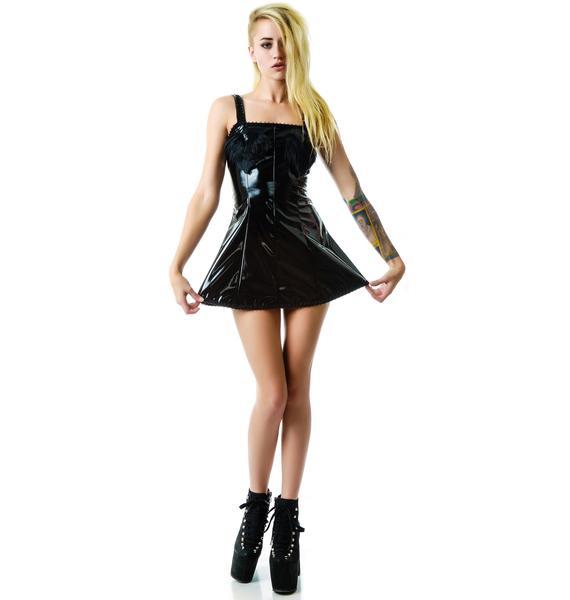 Naughty Fur Hearts Vinyl Dress