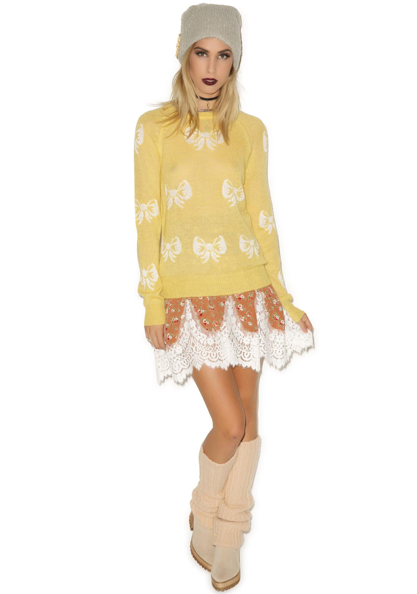 Wildfox Couture French Bows Party Sweater
