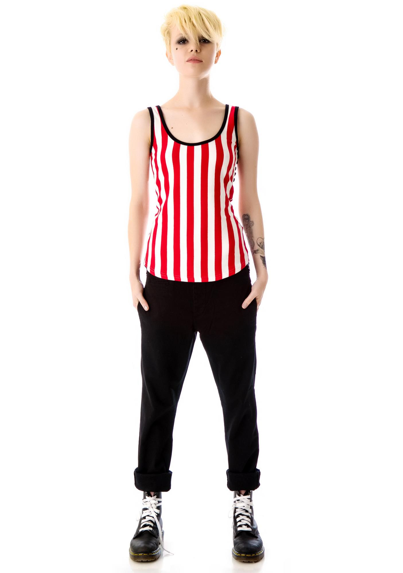 Sourpuss Clothing Misery Striped Tank Top