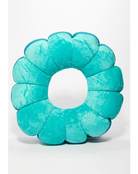 Teal Groovy Flower Shaped Pillow