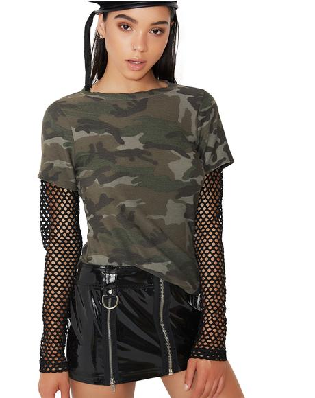 Combat Zone Mesh Sleeve Top