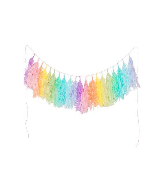 Studio Mucci Soft Pastel Rainbow Tassel Banner