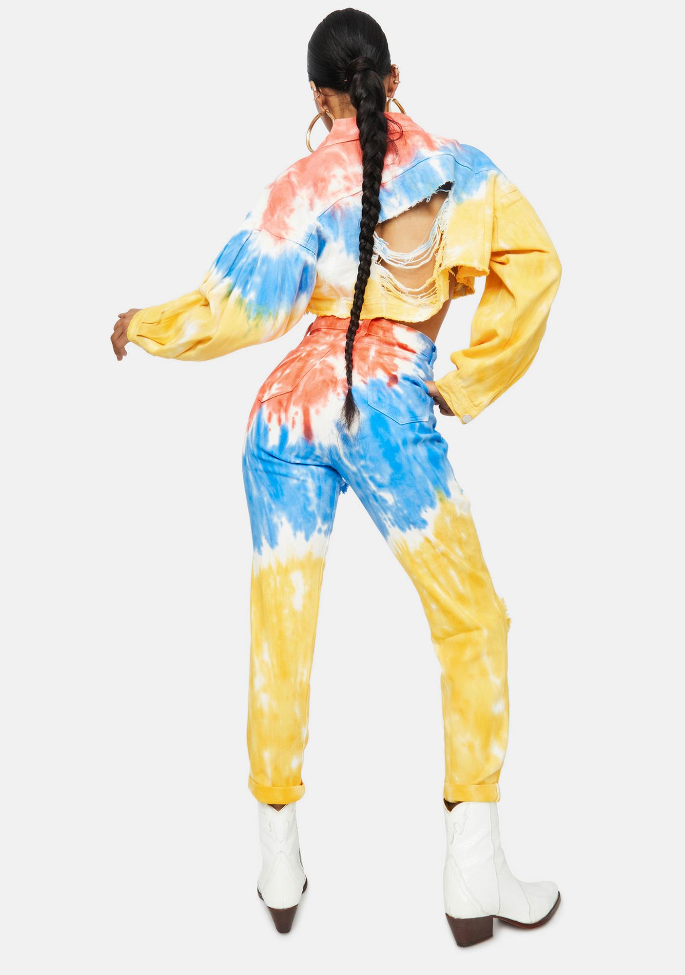 Love And Laughter Tie Dye Mom Jeans