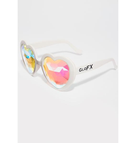 GloFX Empty Hearted Kaleidoscope Glasses