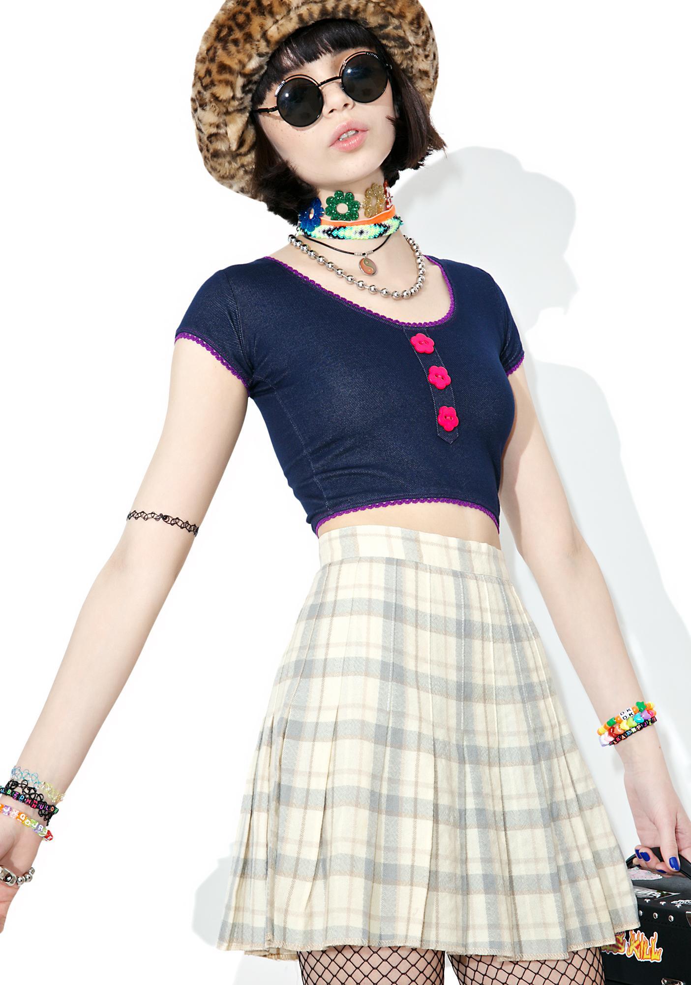Vintage 90s Cream Plaid Mini Skirt