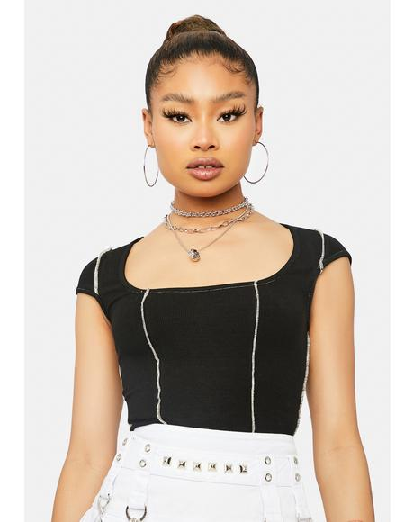 Ur Exposed Cap Sleeve Crop Top