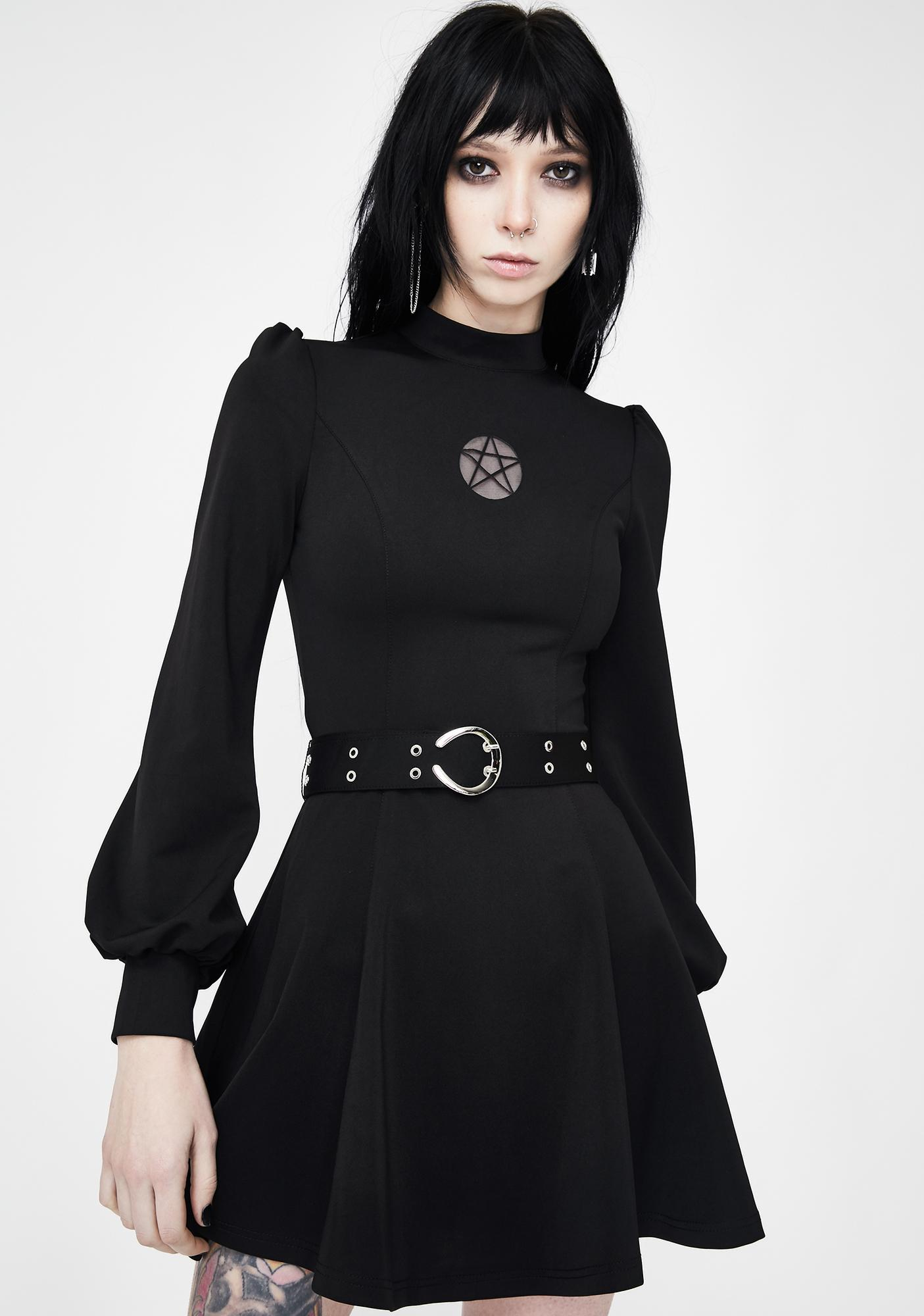 Punk Rave Star Cut Out Belted Mini Dress