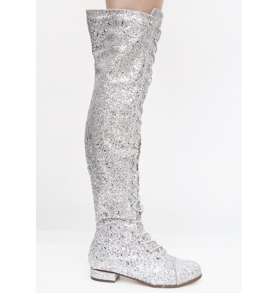 Glitter Take 'Em Down Lace-Up Boots