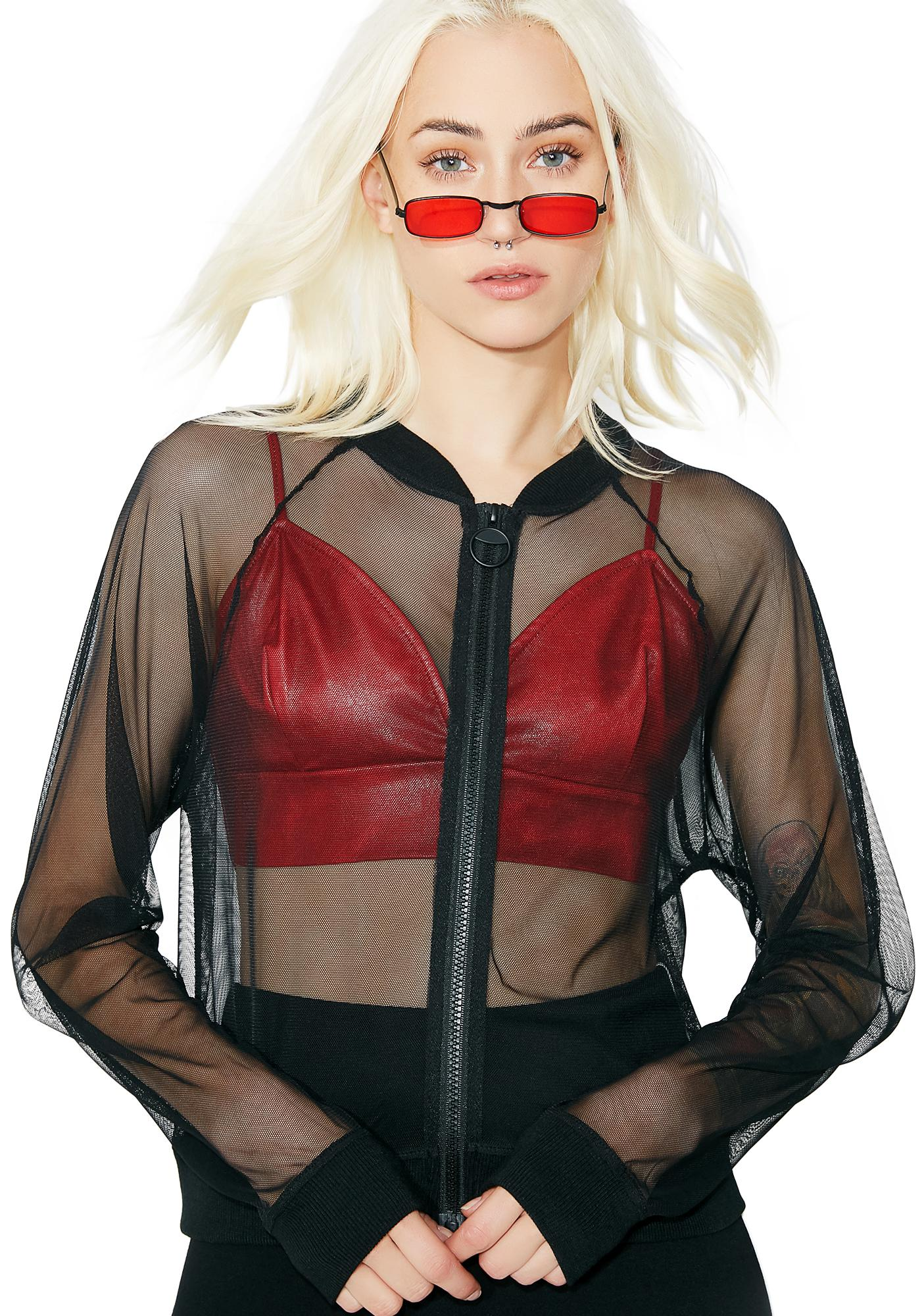 See No Evil Sheer Bomber Jacket