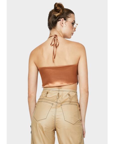 Choco Jersey Halter Top