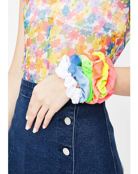 Rainbow Bae Velvet Scrunchies Set