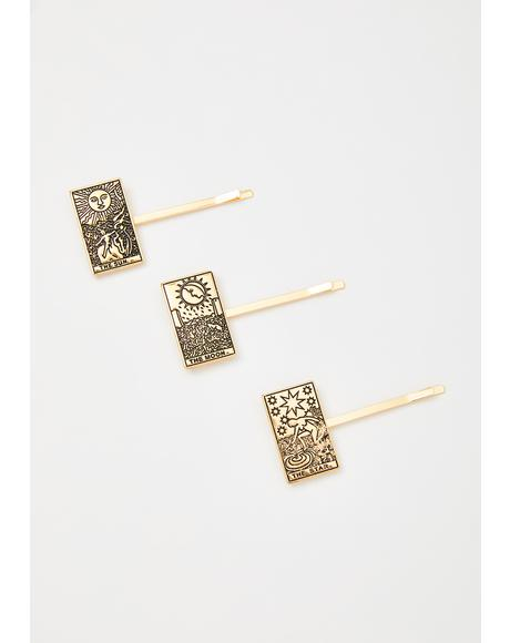 Moonlit Illusion Tarot Card Hair Pins