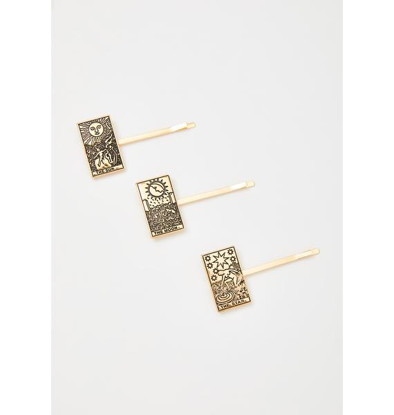 Moonlit Illusion Tarot Card Hair Pins