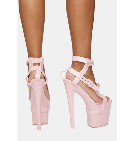 XTRA by YRU X Pink Patent Bondage Platform Heels