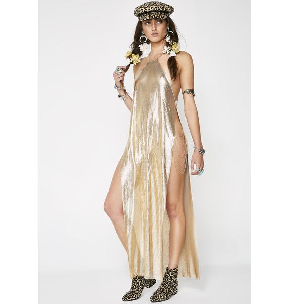 Golden Goin' In For The Slay Chainmail Dress
