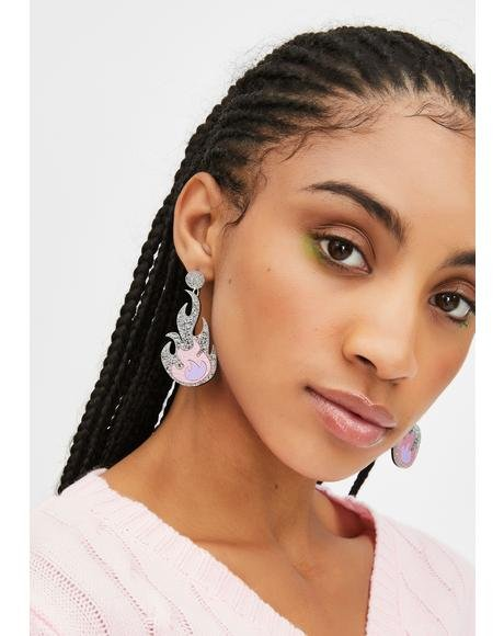 Lilac Glitter Flame Earrings