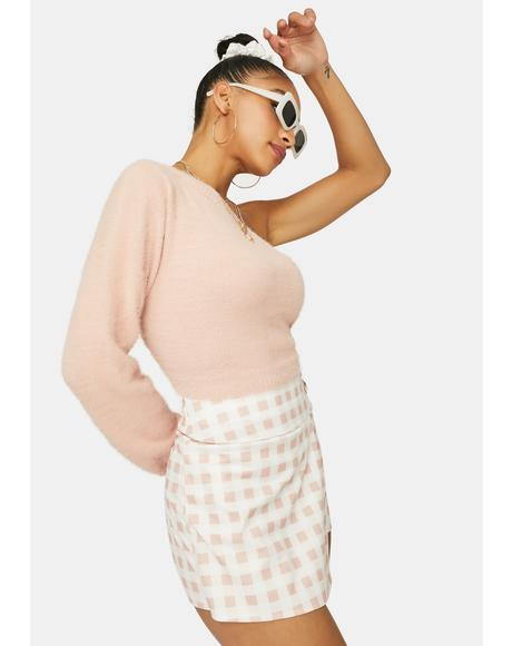 Blushing For You Fuzzy One Sleeve Sweater