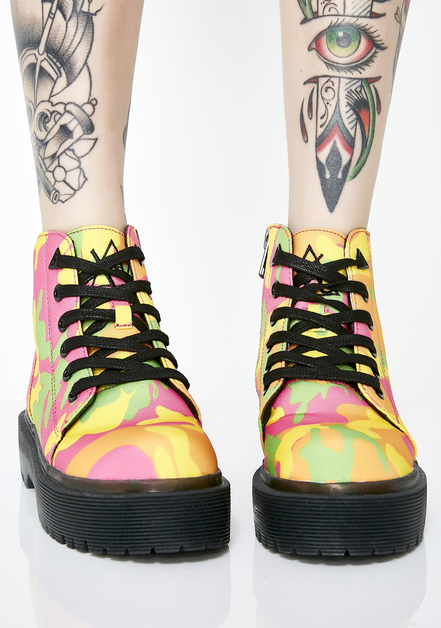 Y.R.U. Slayr Neon Camo Boots