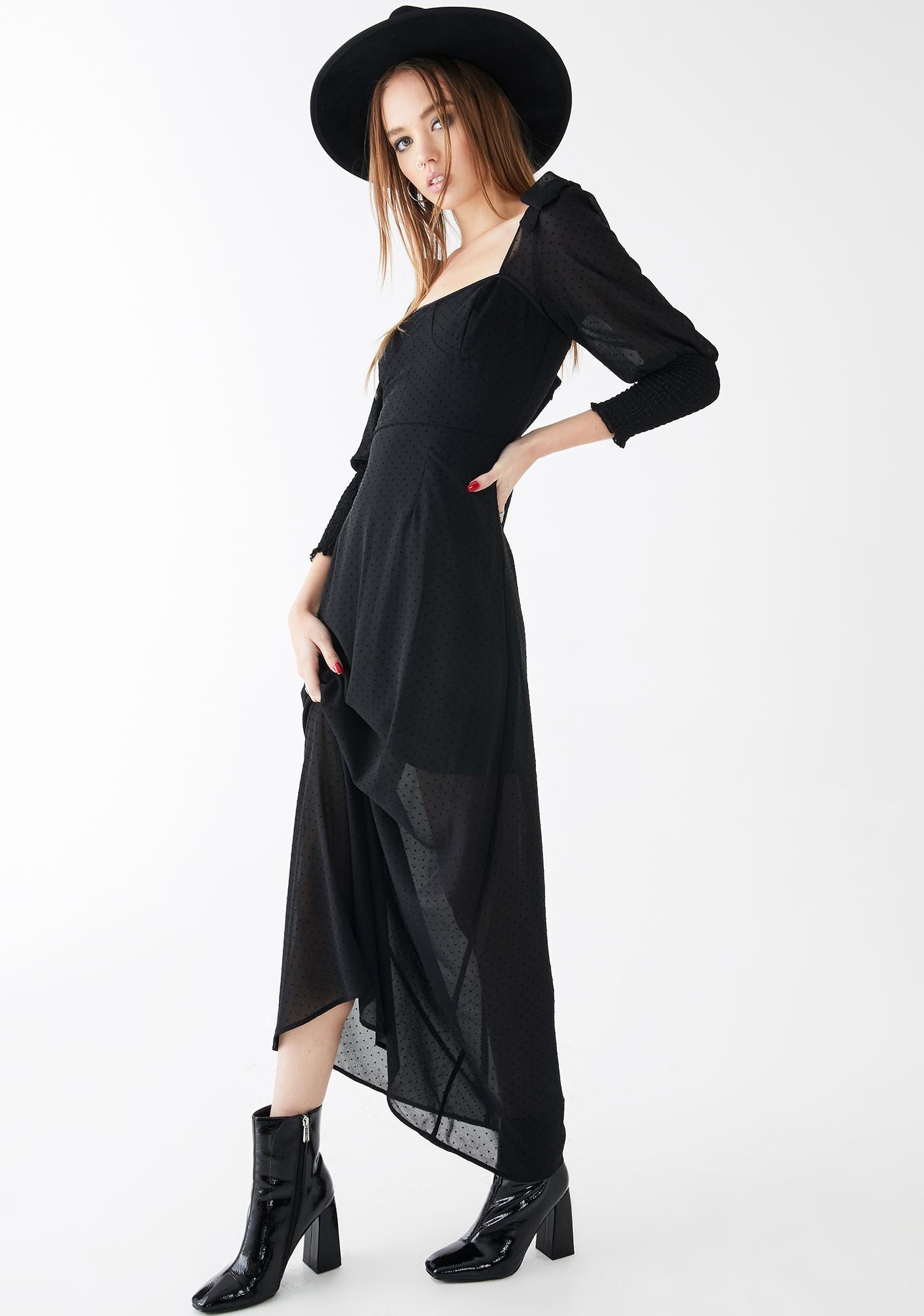 Glamorous Flocked Black Polka Dot Maxi Dress