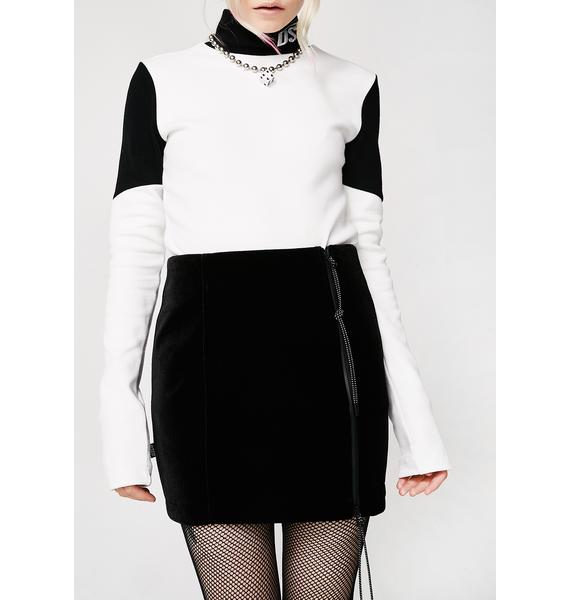 Drink Scan Code Velvet Zipper Skirt
