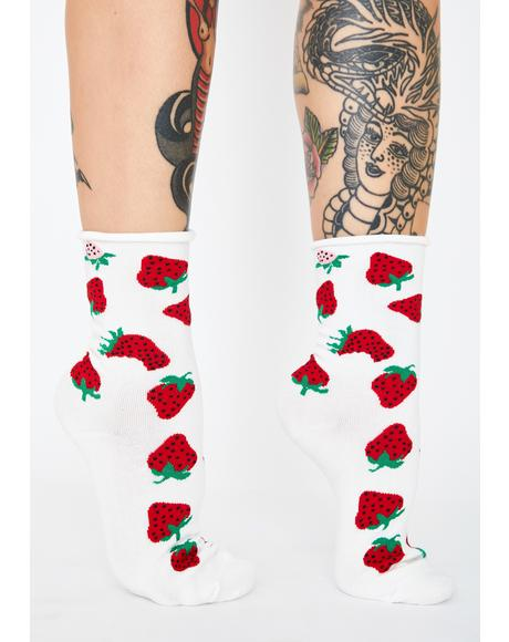 Berry Rude Crew Socks