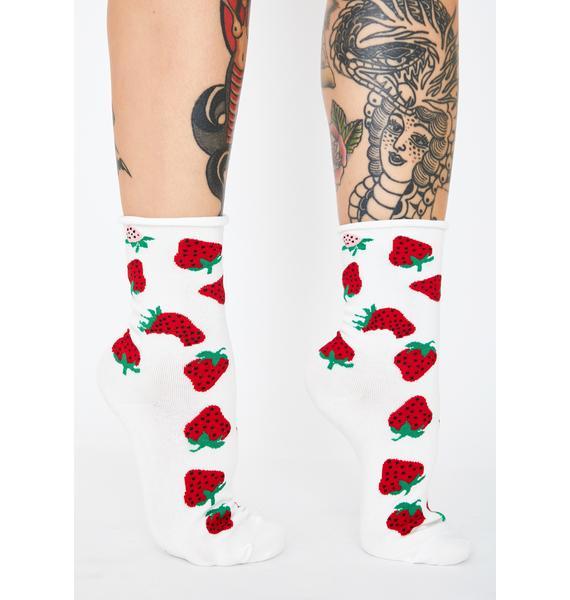 Berry Rude Crew Socks