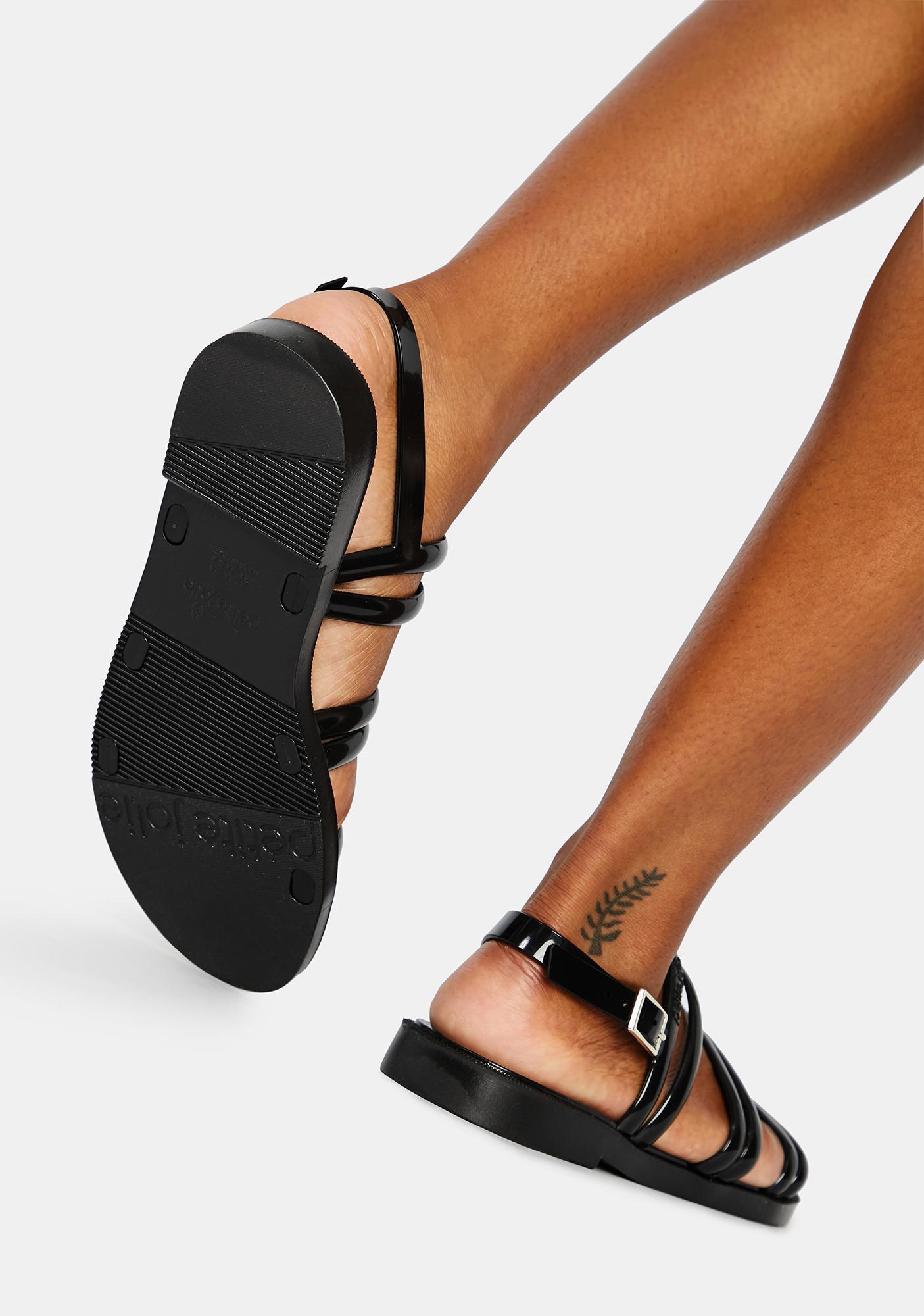 Petite Jolie Black Rio Jelly Sandals